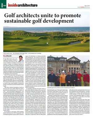 Golf architects unite to promote sustainable golf – written by Ross Perrett, May 2010