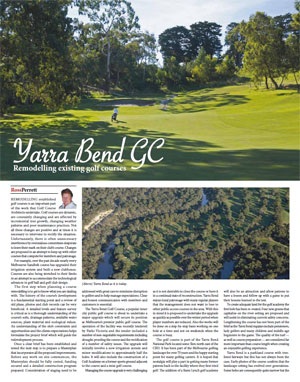 Remodelling existing golf courses – written by Ross Perrett, June 2010