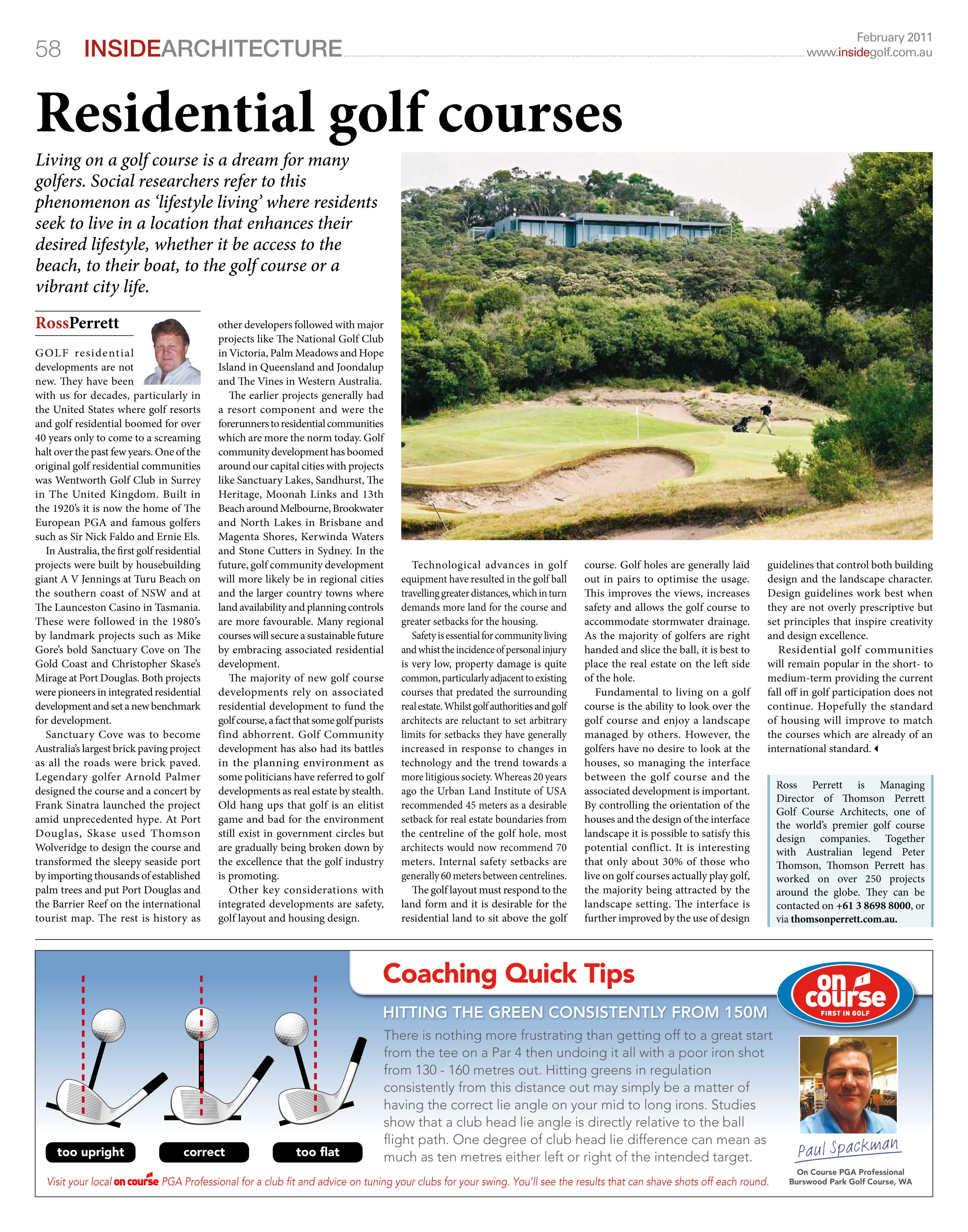 Residential Golf Courses – written by Ross Perrett, Febuary 2011