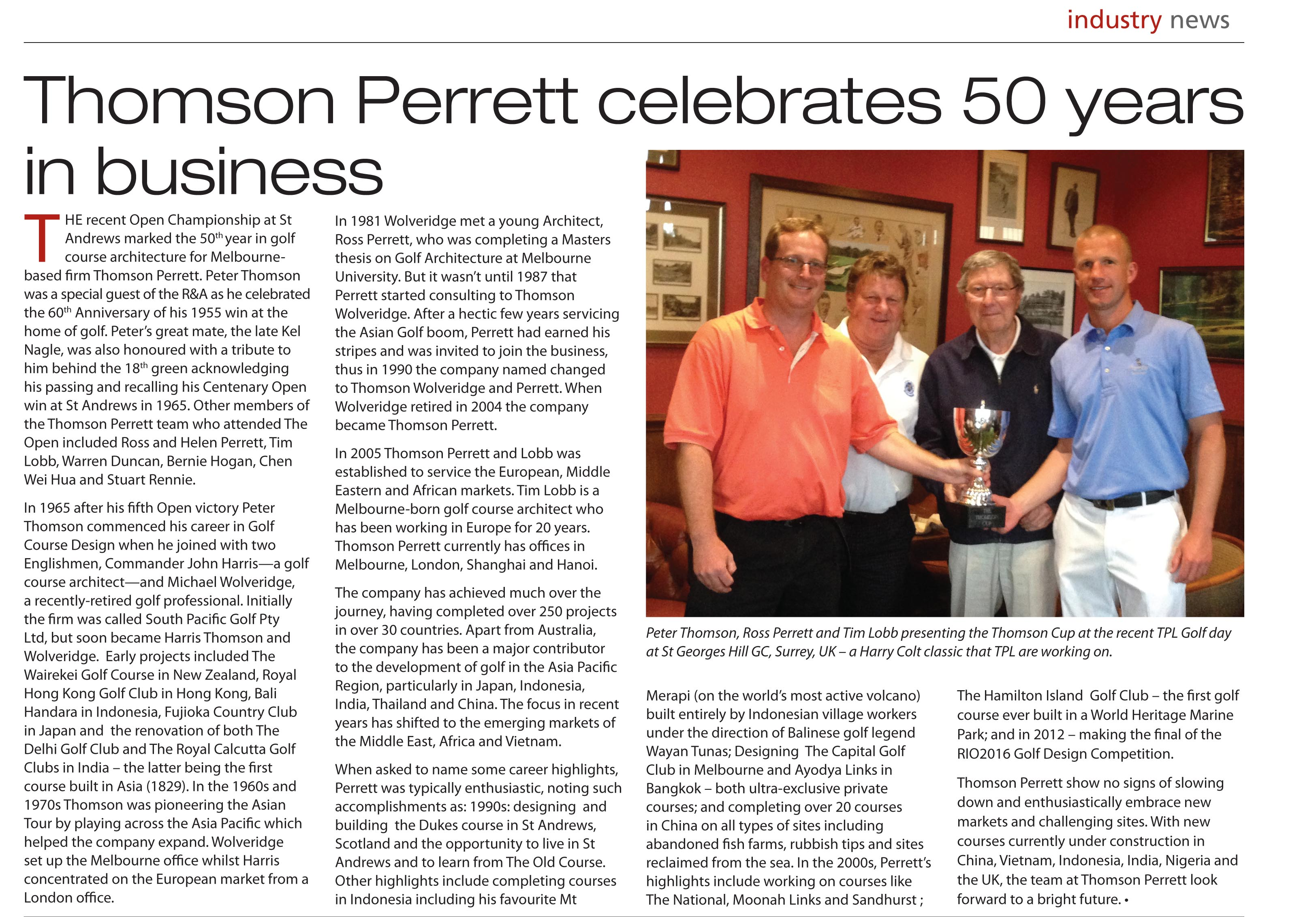 Thomson Perrett celebrate 50 years in business – Inside Golf, July 2015